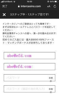 インターカジノ登録方法画面3