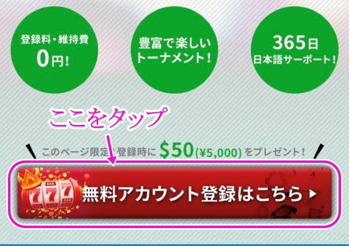 カジノX登録画面1